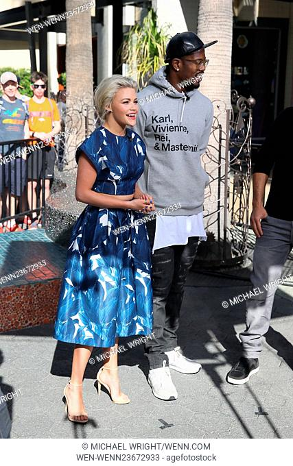Von Miller and Witney Carson seen at Universal studios where they were interviewed by Mario Lopez for television show Extra Featuring: Witney Carson