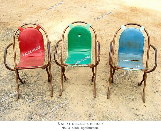 Colourful old outdoor chairs
