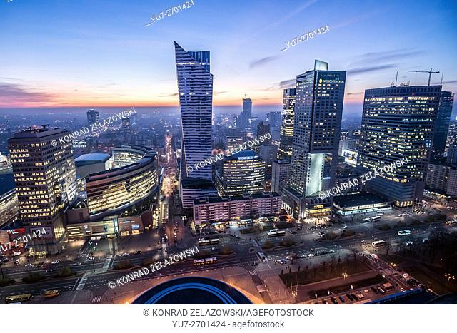 Warsaw, Poland. View with Golden Terraces, Zlota 44 skyscraper, Warsaw Towers, InterContinental Hotel, Warsaw Financial Center