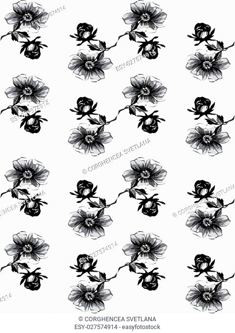 Wallpaper seamless floral vintage grunge background. Branch with roses pattern. Grayscale Colorful Vector illustration