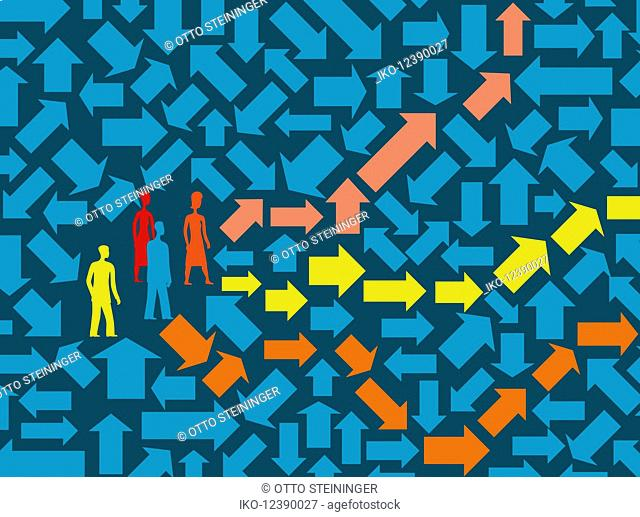 People trapped in arrow maze with choice of coloured paths