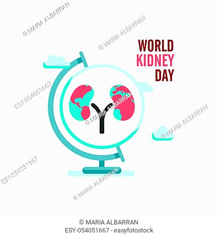 World kidney day with earth globe and clouds. Isolated vector illustration
