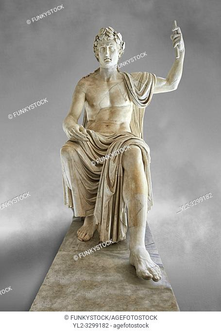 Roman colossal seated staue of Augustus Caesar, white marble, late first century B. C, inv 6040, Naples National Archaeological Museum, grey art background