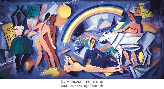 Six Figures in a Landscape with Rainbow and Bull from the Room of Mannequins (Sei figure in un paesaggio con arcobaleno e bove da la Stanza dei manichini)