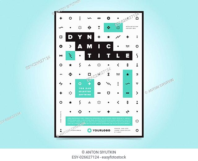 Corporate brochure flyer design layout template in A4 size, vector eps10. Creative poster with icons. Business logo