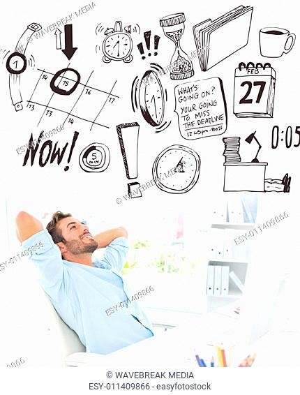 Composite image of casual man resting with hands behind head in office