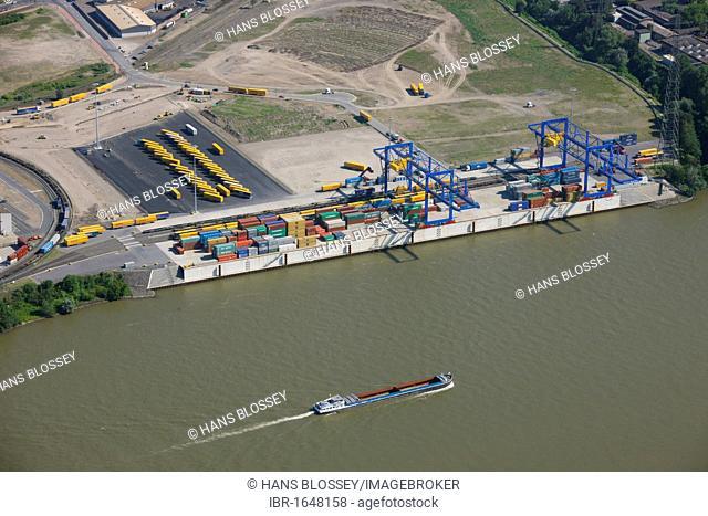 Aerial view, Logport harbour, loading terminal, inland waterway transport, Duisport harbour, Duisburg, Ruhrgebiet area, North Rhine-Westphalia, Germany, Europe