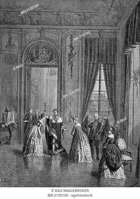 Inside Schloss Wilhelmsthal Palace, historical woodcut, circa 1870