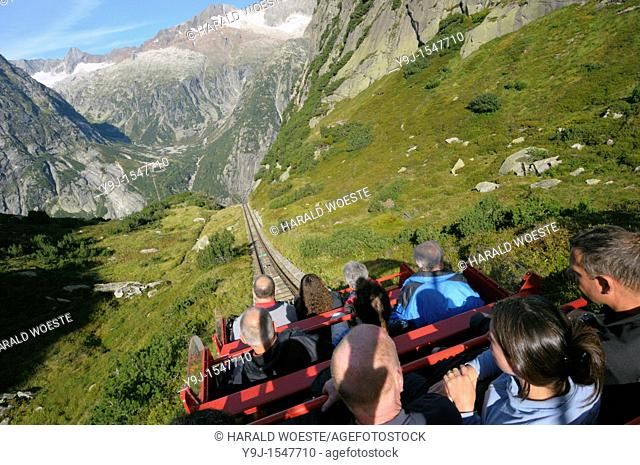 Switzerland, Western Europe, Grimsel region, nr  Guttannen, Gelmerbahn funicular  Note: No releases available  --- Info: The Gelmer cable car funicular railway...