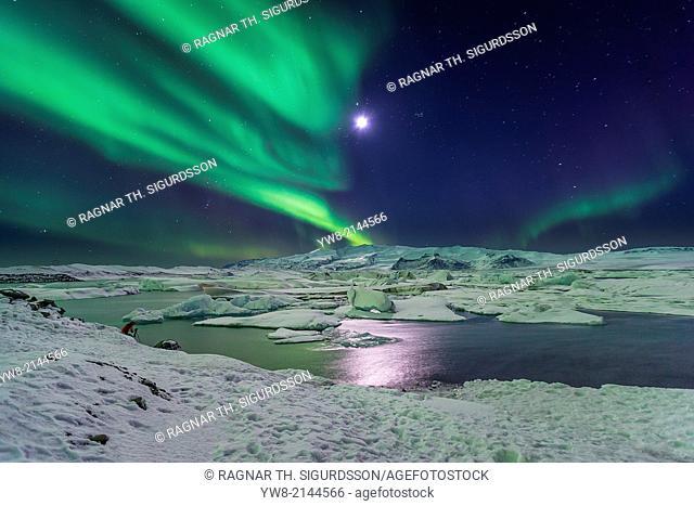 Moon and Aurora Borealis