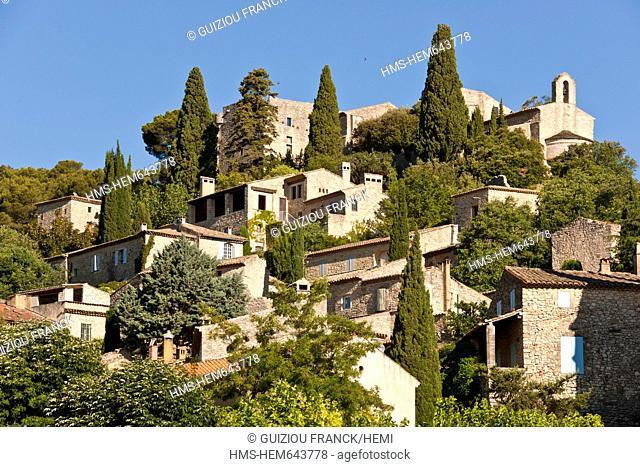 France, Gard, La Roque sur Ceze labelled Les Plus Beaux Villages de France The Most Beautiful Villages of France is built on a rocky outcrop overlooking the...