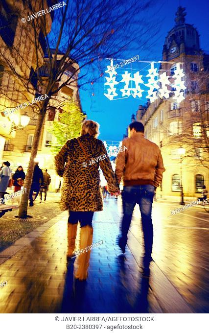 Christmas lights, Shopping, Donostia San Sebastian, Gipuzkoa, Basque Country, Spain