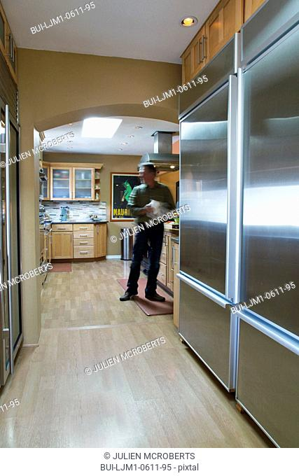 Large stainless steel refrigerator, Albuquerque, New Mexico, USA