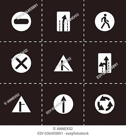 Vector road element icon set on black background