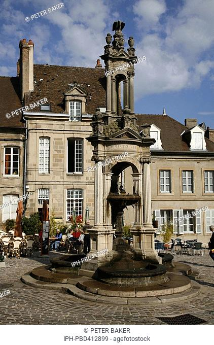 Saone et Loire - Picturesque square in front of the Cathedral Church of Saint Lazare in Autun