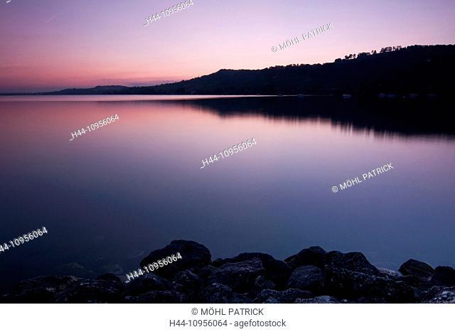 Evening, evening mood, scenery, landscape, long exposure, lake of Murten, reflection, Switzerland, Europe, sunrise, stones, Sugiez, outline, water, mood