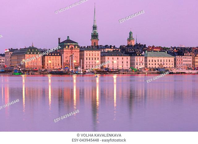 Scenic panoramic view of Gamla Stan, in the Old Town in Stockholm at night, capital of Sweden