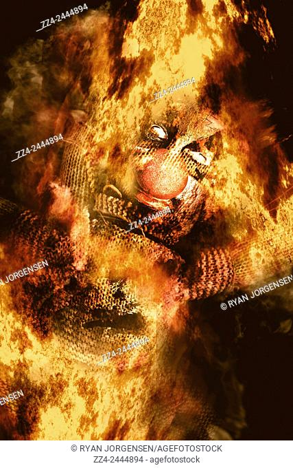 Creative tribal horror concept of a voodoo clown doll set ablaze in a ritualistic witchcraft sacrifice to the loa of macabre mysticism