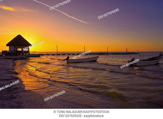 Holbox Island pier palapa sunset beach in Mexico Quintana roo