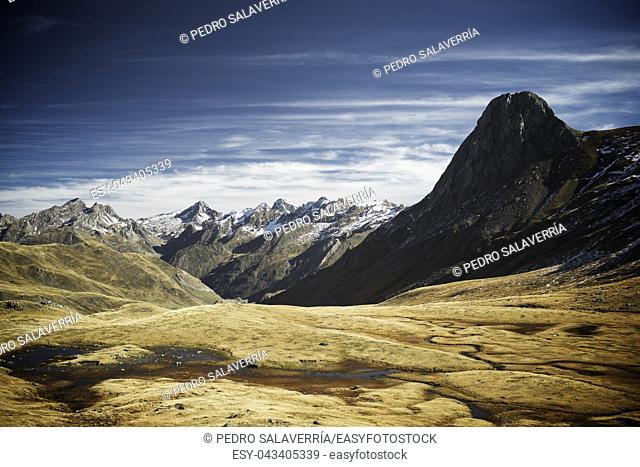 Mountains in Ossau Valley, Pyrenees National Park, Pyrenees, France