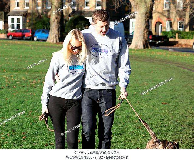 Professor Green and his new fling Fae Williams caught walking their dogs in matching outfits on a crispy morning walk in London Park Featuring: Professor Green