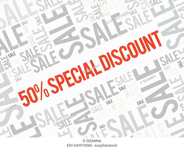 50% Special Discount word cloud background, business concept