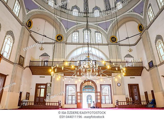 Interior view of Emir Sultan Mosque at Emir Sultan Complex or Sultan Complex,a mosque complex in Bursa,Turkey. 20 May 2018