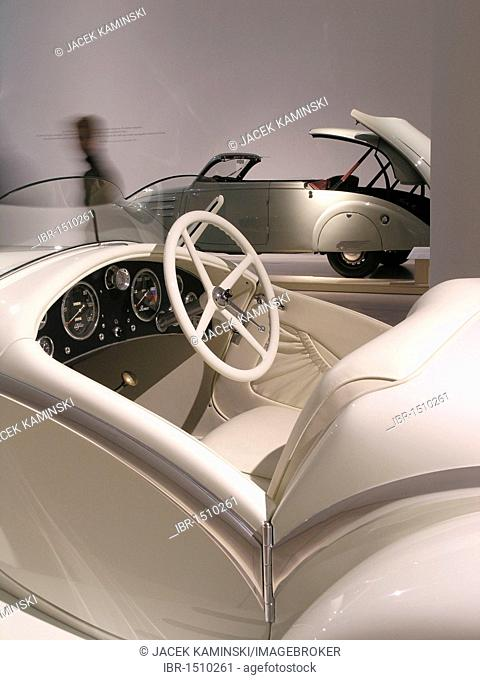 Alfa Romeo 6C Gran Sport in front of aPeugeot 402 Eclipse, Mitomacchina exhibition, Museum of Modern Art, MART, Rovereto, Italy, Europe