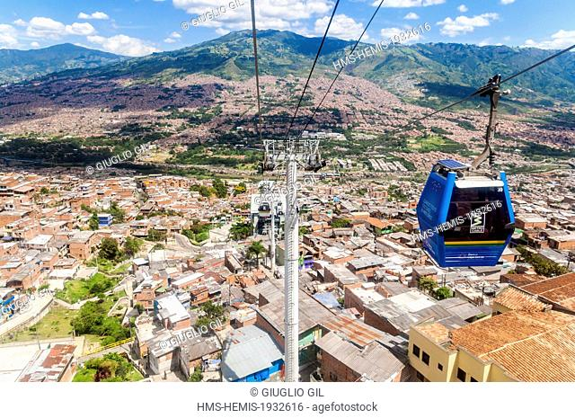 Colombia, Antioquia Department, Medellin, Comuna 1, Popular neighbourhood, view from the Metrocable cabin in direction of the Parque Biblioteca Espana