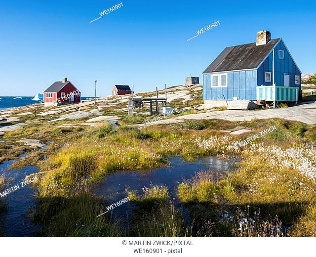 The Inuit village Oqaatsut (once called Rodebay) located in the Disko Bay. America, North America, Greenland, Denmark