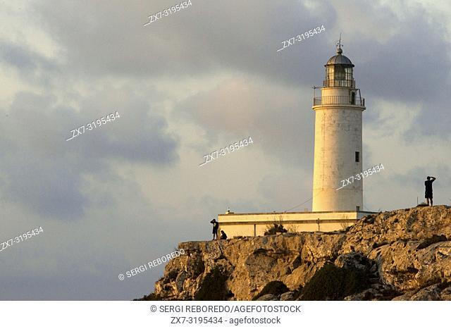 Sunrise. Lighthouse of La Mola, Faro de la Mola, Formentera, Pityuses, Balearic Islands, Spain, Europe
