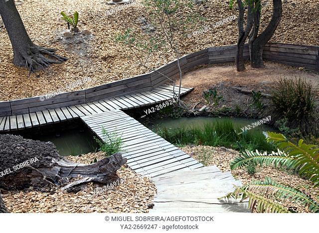 Walkways around Stream at Babylonstoren near Franschhoek in Western Cape - South Africa