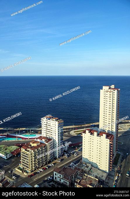 Vedado and El Malecon, elevated view, Havana, La Habana Province, Cuba