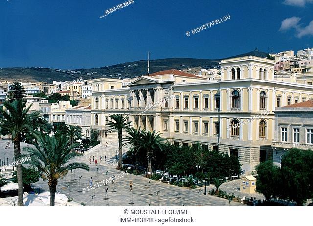 Cyclades, Syros Ermoupolis, town hall, Miaoulis square