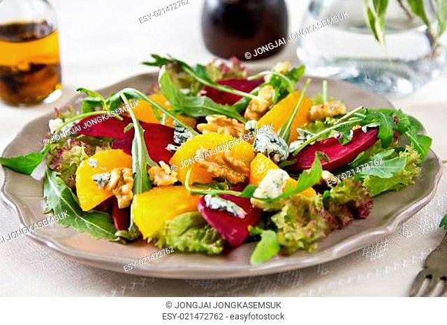 Orange with Beetroot and Blue cheese salad