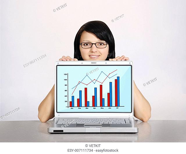 woman and notebook with graphic on a white background