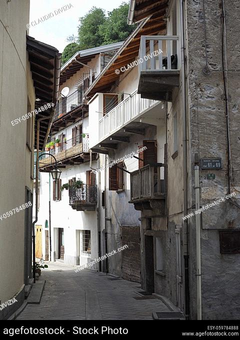 View of the old city centre in Pont Saint Martin, Italy