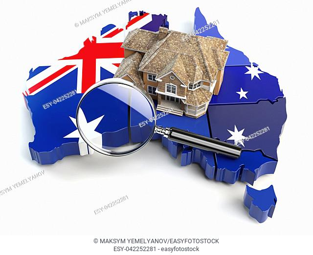 House and loupe on the map of Australia in colors of australian flag. Search a house for buying or rent concept. Real estate development in Australia