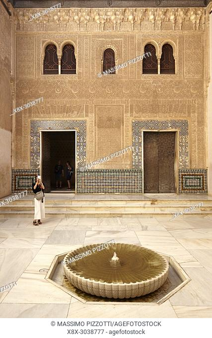 Decorations of Patio of Mexuar in the Nasrid palace, Alhambra complex, Granada, Andalusia, Spain