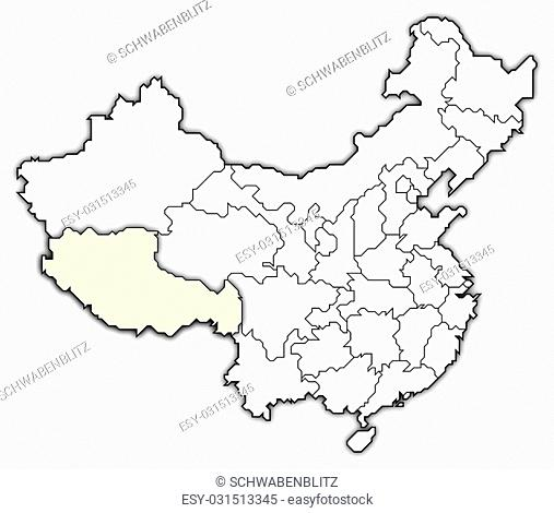 Political map of China with the several provinces where Tibet is highlighted