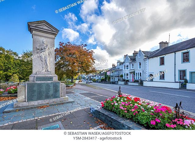 The Keswick war memorial, County Square, Lake District National Park, Cumbria, England, United Kingdom, Europe