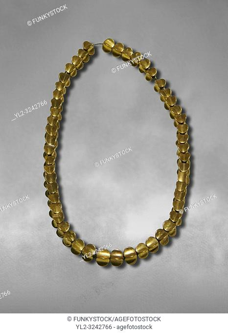 Bronze Age Hattian gold necklace from Grave L, possibly a Bronze Age Royal grave (2500 BC to 2250 BC) - Alacahoyuk - Museum of Anatolian Civilisations, Ankara