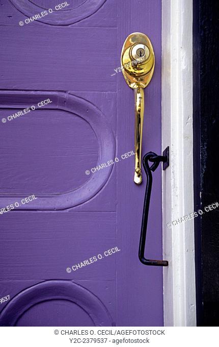New Orleans, Louisiana. French Quarter. Door, Door Handle, and Lock