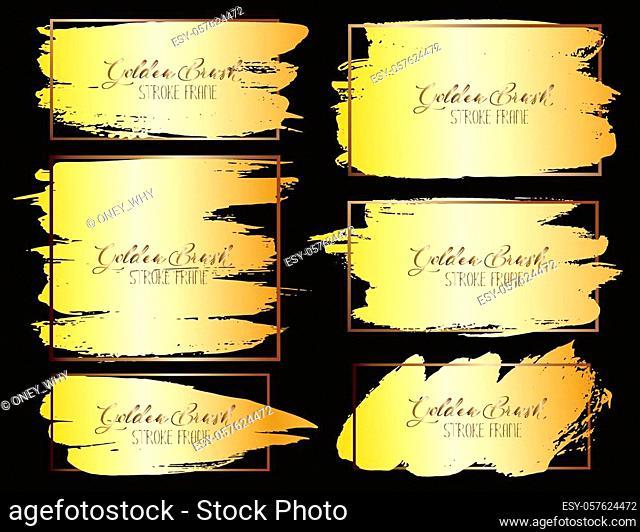 Set of brush stroke frame, Gold grunge brush strokes. Vector illustration