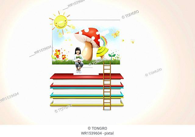 a girl sitting on a pile of books
