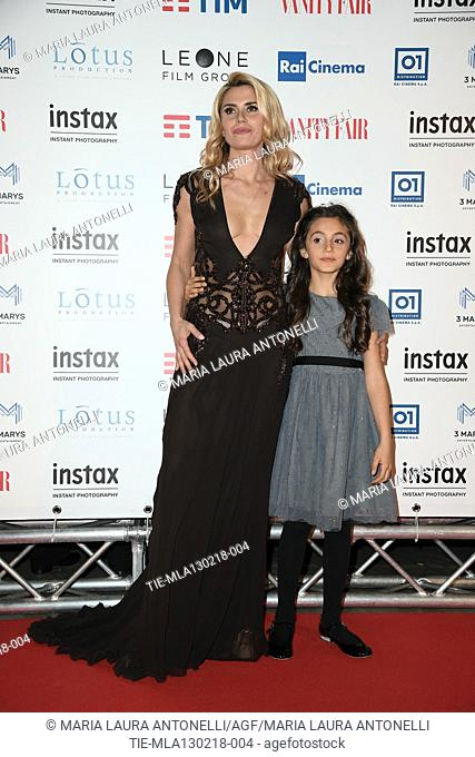 Angelica Russo with daughter Penelope during the red carpet of film A casa tutti bene, Rome, ITALY-12-02-2018