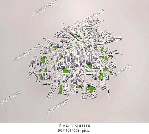 High angle view of cityscape model on white background