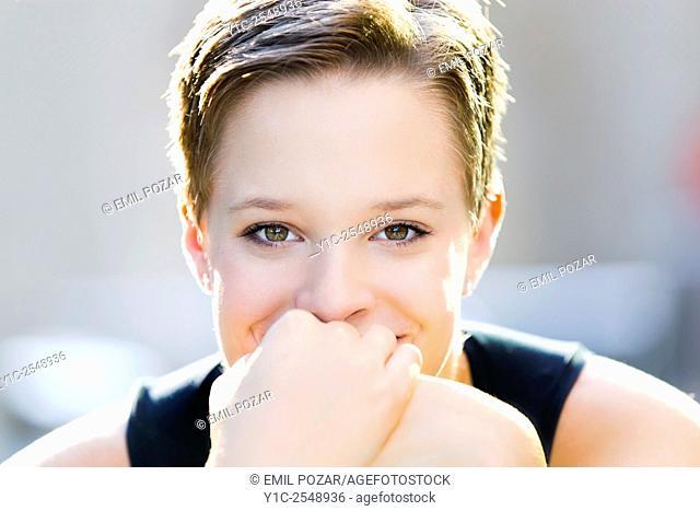 Short-haired teengirl portrait