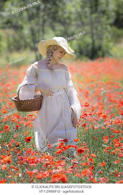 Blonde girl in a white dress in a poppy meadow carrying a basket of flowers, valensole, provence, france