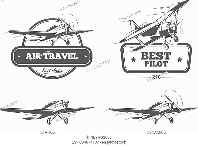 Aviation badges logos and emblems labels. Aircraft and plane, pilot and travel, vector illustration